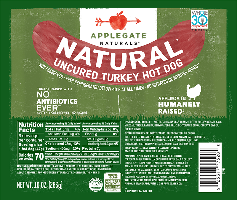 apple gate all natural hot dogs